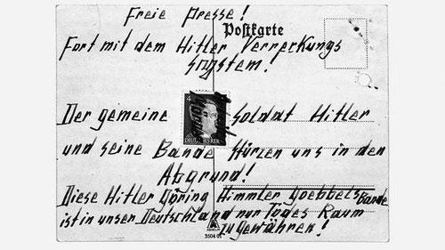Originalpostkarte von Otto und Elise Hampel