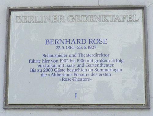 Gedenktafel für das Bernhard Rose-Theater, Badstr. 58 © Diana Schaal
