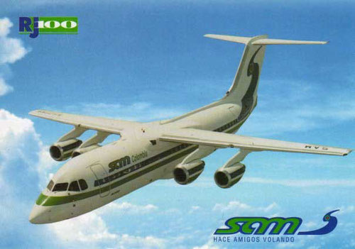 Die Avro RJ100 war das Hauptmodell der SAM in den 1990ern/Courtesy: SAM Colombia