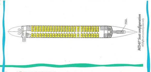 Sitzplan* der MD-87 von Tradewinds/Courtesy: Tradewinds