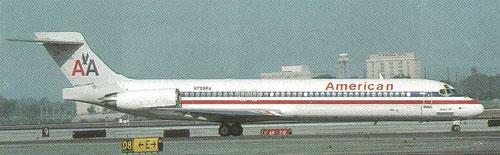 American Airlines setzten für kurze Zeit die MD-87 ein/Postkarte