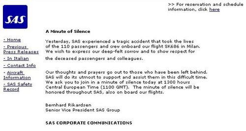 Mitteilung der SAS am 09. Oktober 2011/Screenshot/Courtesy: SAS