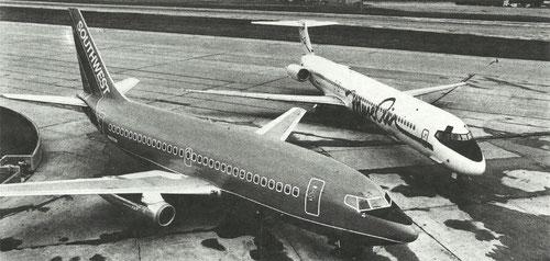 Eine Boeing 737 der Southwest und eine MD-80 der Muse Air/Courtesy: Southwest Airlines