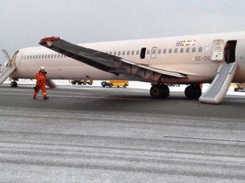 Die MD-82 nach der Evakuierung/Courtesy: Mette-Marit, Kronprinzessin von Norwegen via Twitter