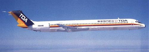 Die MD-81 bot bei TDA gegenüber der DC-9-41 35 zusätzliche Sitzplätze/Courtesy: McDonnell Douglas