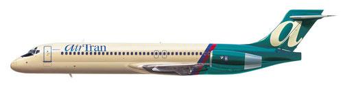 Boeing 717 im Original-Farbkleid der AirTran, Ende der 1990er/Courtesy: AirTran