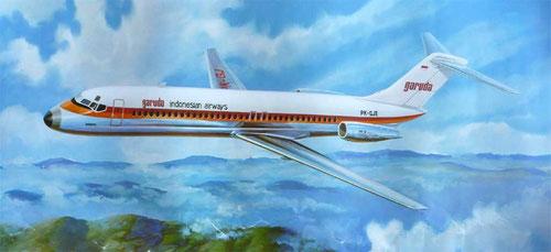 Zeichnung einer DC-9 im Farbkleid bei Auslieferung der ersten Flugzeuge/Courtesy: McDonnell Douglas