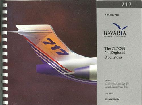 Titelseite einer dicken 717-Werbebroschüre für Fluggesellschaften/Courtesy: Bavaria