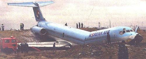 Die havarierte MD-83 nach der misslungenen Landung in Pohang/Courtesy: ?