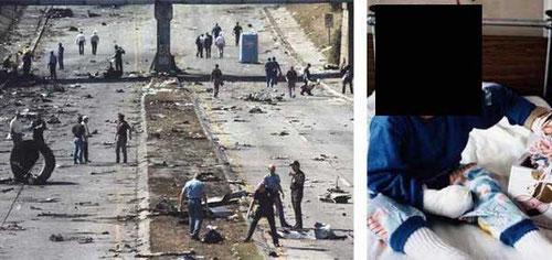 Trümmer der MD-82, rechts das Mädchen, dass überlebte (extra unkenntlich gemacht)/Courtesy: NTSB?