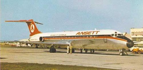 Postkarte mit einer DC-9-30 der Ansett