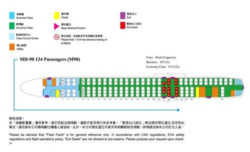 Kabinenaufteilung der MD-90 von EVA Air mit 12 Business und 122 Tourist Class/Courtesy: EVA Air