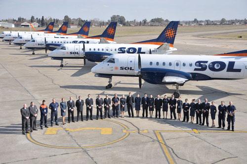 Pressefoto mit sechs Saab 340/Courtesy: Sol Líneas Aéreas