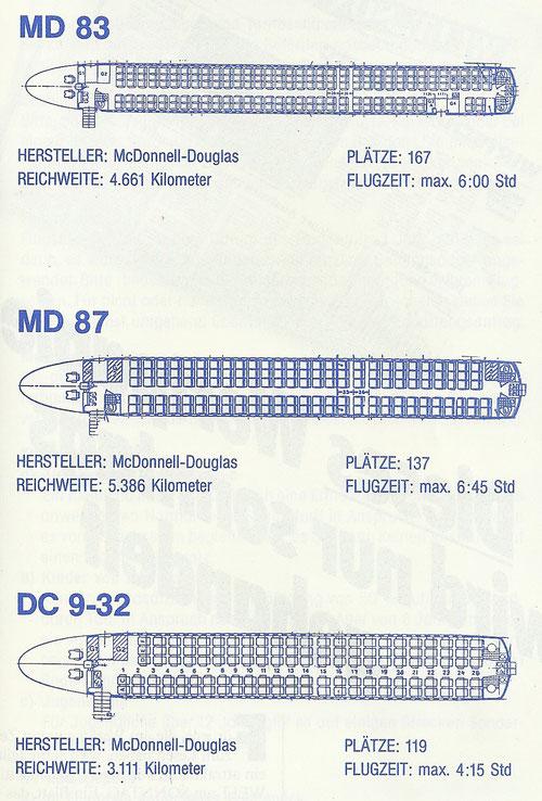 Sitzpläne der Aero Lloyd-Flotte, 1988/1989. Es fehlt die Caravelle./Courtesy: Aero Lloyd