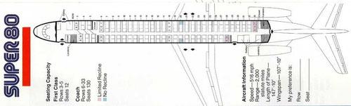 Super 80-Kabinenkonfiguration ab 1983 für 142 Fluggäste/Courtesy: American Airlines