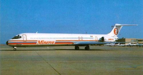 Postkarte mit einer MD-83 der Minerve