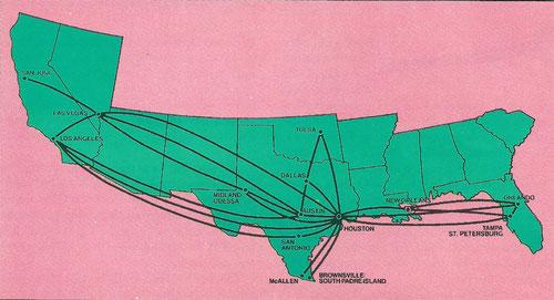 Streckennetz der Muse Air im Sommer 1985/Courtesy: Muse Air