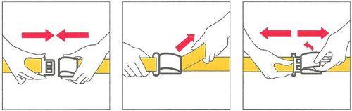 Schließen, festziehen und Öffnen eines Sitzgurtes/Ausschnitt aus einer Safetycard