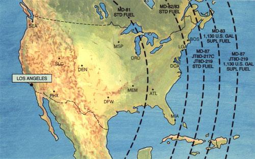 Reichweite ab Los Angeles/Courtesy: McDonnell Douglas