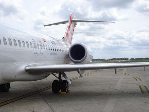Leitwerk der Boeing 717 EI-EXB von Volotea Airlines/Courtesy: md80design