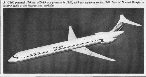 """Die """"MD-89"""" mit zwei zusätzlichen Türen, MD-80-Leitwerk und IAE-Antrieb/Courtesy: McDonnell Douglas"""
