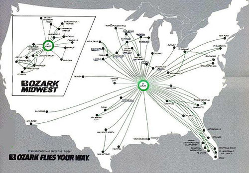 Streckennetz 1986/Courtesy: Ozark Air Lines