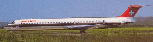 MD-81 der Swissair. Dieses Modell ist nicht für hot and high-Bedingungen prädestiniert/Postkarte