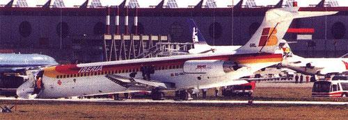 Die havarierte MD-87 in Genf/Courtesy: BFU