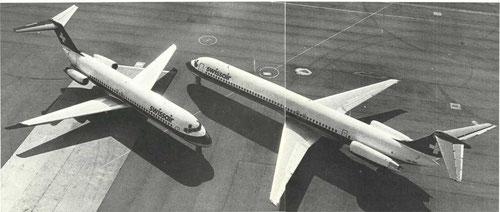 Links eine DC-9-32, rechts eine MD-81 der Swissair/Courtesy: Swissair