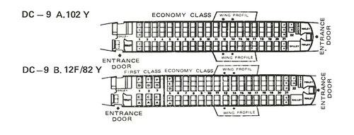 Sitzpläne der DC-9-32/Courtesy: Garuda