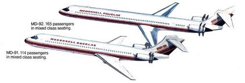 MD-91 und MD-92-Konzepte/Courtesy: McDonnell Douglas