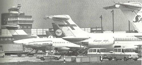 Einst typische Szenerie mit einer MD-81 der Austrian, Fnnair MD-82 und DC-9 der SAS/Courtesy: BAA?