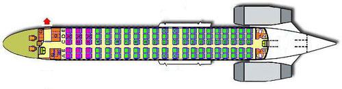 Position der Servicetür wird durch den roten Pfeil angezeigt/Courtesy: MD-80.com/Olympic Aviation