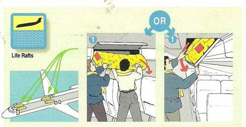 Entweder in Gepäckfächern verstaut oder in Behältern an der Kabinendecke/Courtesy: Aurora Airlines