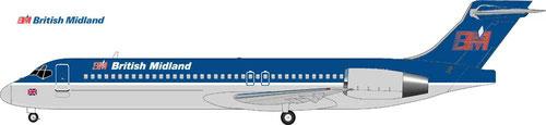 Boeing 717 im klassischen Farbkleid der British Midland/Courtesy: MD-80.com