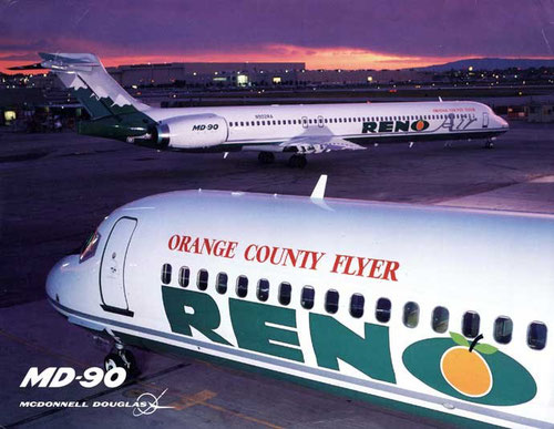 Zwei MD-90 der Reno Air/Courtesy: McDonnell Douglas