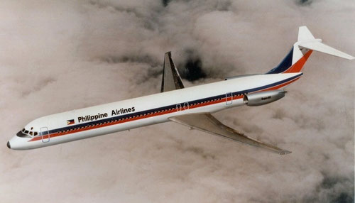 "Philippine Airlines ""Super 80""/Courtesy: McDonnell Douglas/Collection of Chuck Gowing/www.airlinecolors.com"