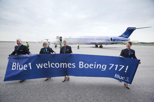 Blue1 heisst ihre erste Boeing 717 willkommen!/Courtesy: Blue1