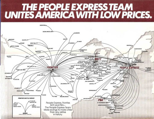 Kombiniertes Streckennetz von Britt, Frontier, PBA und People Express/Courtesy: People Express