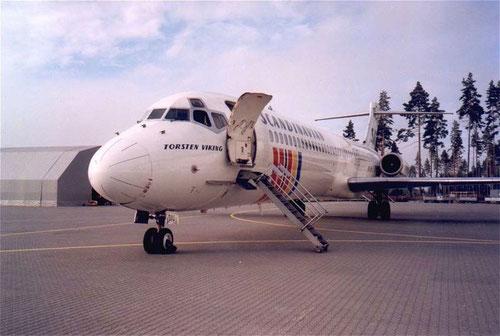 Vordere Bordtreppe einer MD-87 der SAS/Courtesy: SAS