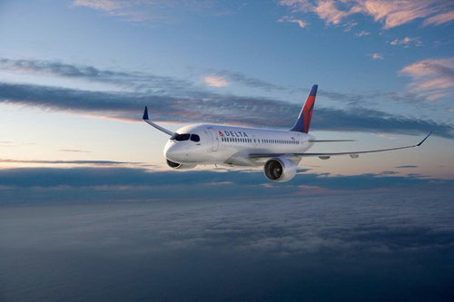 Rendering of a Bombardier CS100 in Delta-livery/Courtesy: Bombardier