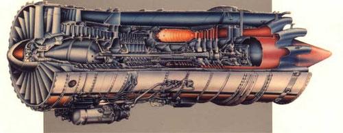 Das JT8D-200 als Zeichnung mit Lufteinlass links und Luftaustritt rechts/Courtesy: McDonnell Douglas