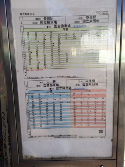 国立駅南口から一橋大学までのバス時刻表