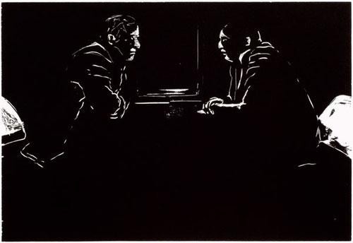 Ilko Koestler, außer sich, Holzschnitt, 30 x 40 cm, 2014