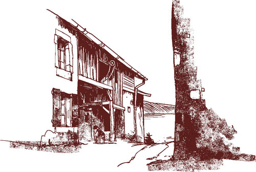 Une ruelle typique du second front du village du Pont