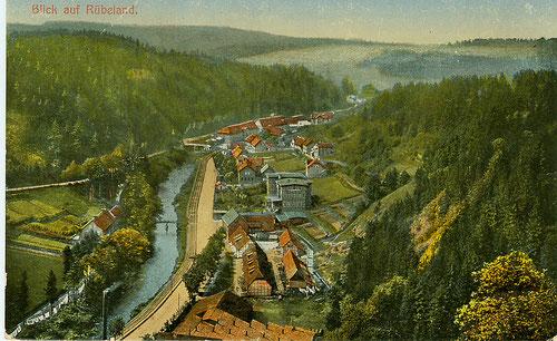 Blick vom Schornsteinberg auf Bode, Bahn und Strasse in Rübeland um 1895