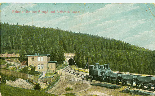 Bahnhof Braunesumpf und Bielsteintunnel um 1895, Zug fährt Richtung Blankenburg