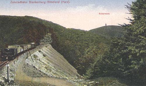 Zug auf dem Hohen Damm zwischen Michaelstein und Braunesumpf um 1895