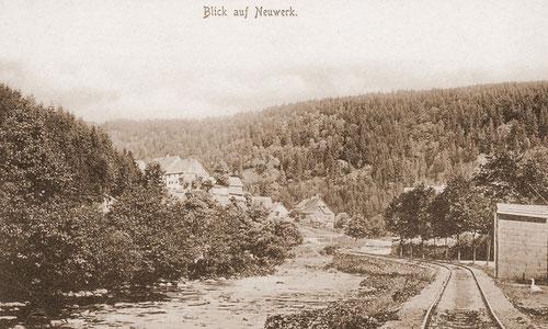 Gleise der Diabas-Bahn entlang der Bode in Neuwerk um 1900