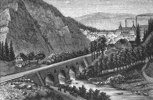 Rothehütte mit Brücke über die Kalte Bode 1886 (Zeichnung Carl Grote)